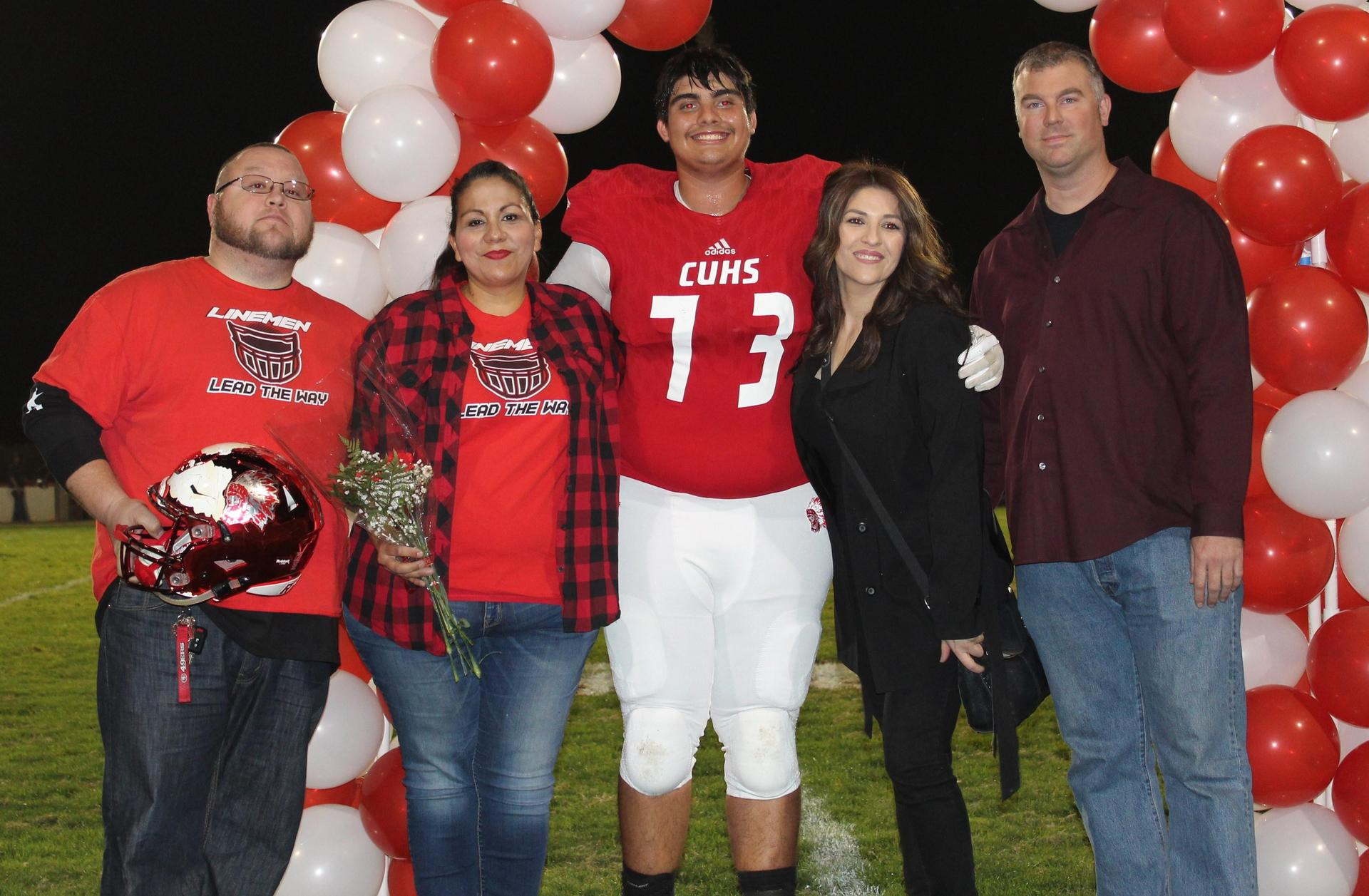 Isaiah Yates and his supporters at Senior Night