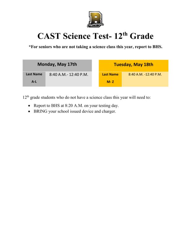 CAST Schedule