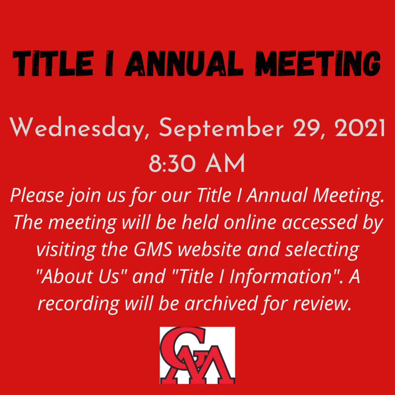 GMS Title I Annual Meeting - Wednesday, September 29, 2021 Featured Photo