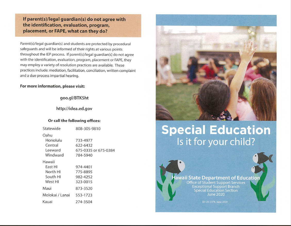 Special Education Brochure page 1