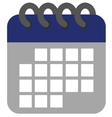 Grey, navy blue, and light blue calendar.
