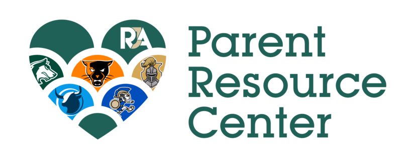 PRC Logo. To the left is a heart that includes all our site mascots inside. To the right it reads Parent Resource Center.