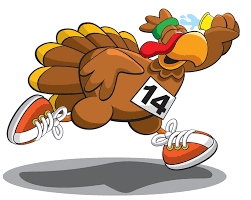 cartoon picture of a turkey with sneakers running