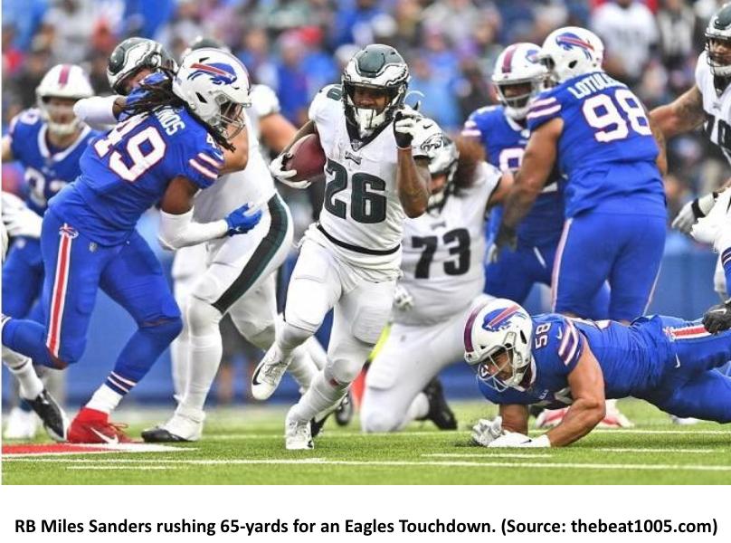 Philadelphia Eagles running back Miles Sanders runs the ball against the Buffalo Bills