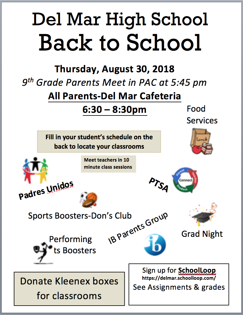 Image of 2018 Del Mar Back to School Night Flyer