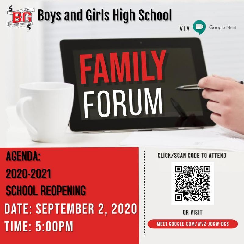 BGHS Family Forum September 2 2020