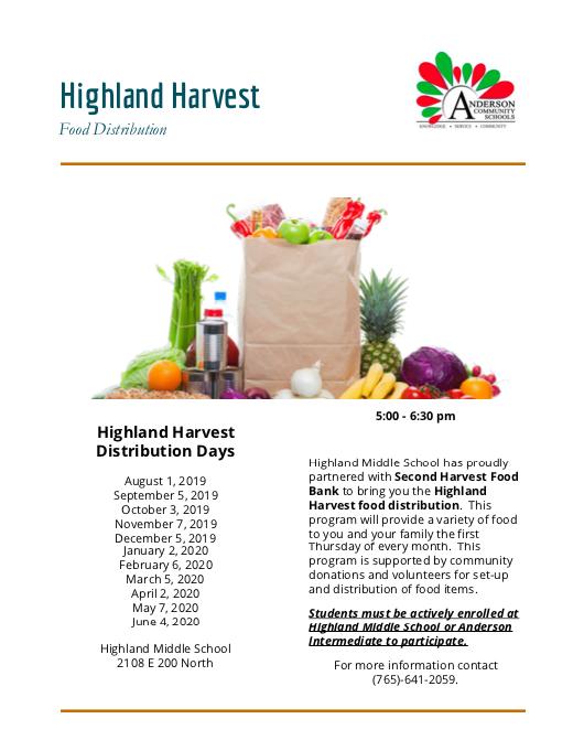 Flyer for Highland Harvest