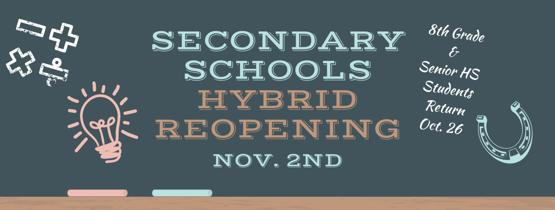 Chalkboard with message announcing secondary schools hybrid reopening on November 2