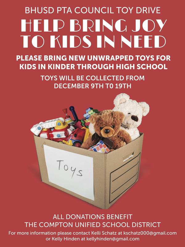 BHUSD PTA Council Toy Drive From Dec 9 - 19th! Featured Photo