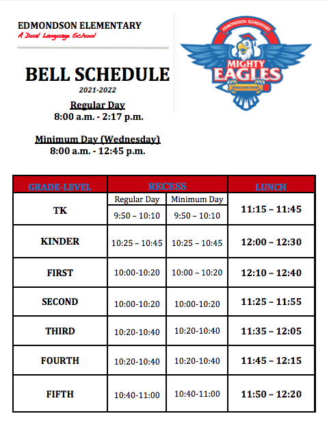Bell Schedule 2021-22 Featured Photo