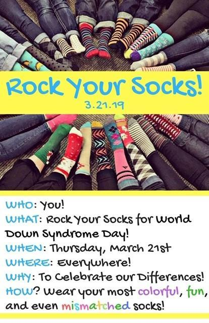 A flyer with crazy socks, that says the day to wear crazy socks in honor of World of Down Syndrome.
