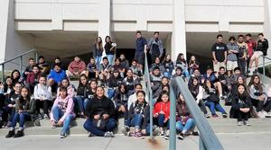 Advancement Via Individual Determination (AVID) students from Baldwin Park Unified's Holland Middle School explore Cal State Fullerton during a bi-annual college field trip. Holland Middle's AVID teachers include: Teresa Frausto, Kevin Johnson, Paul Keeler, Grace Lee and Erica Munoz-Mares.