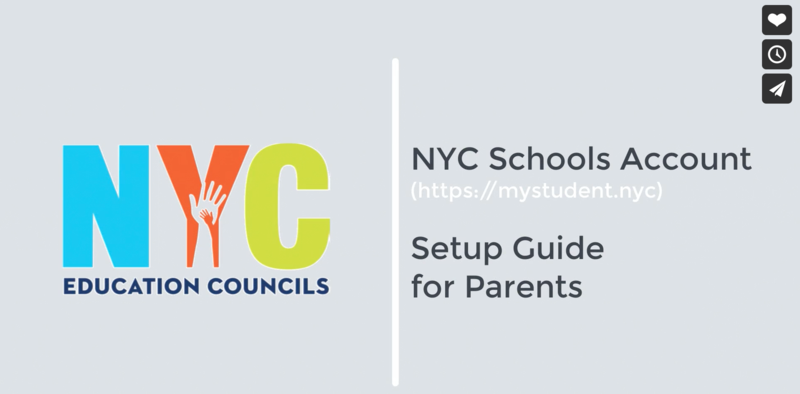 NYC Education Council Grey Banner with multicolored adult and children hands introducing the topic of a video about How-To Setup your NYC School Account for Parents
