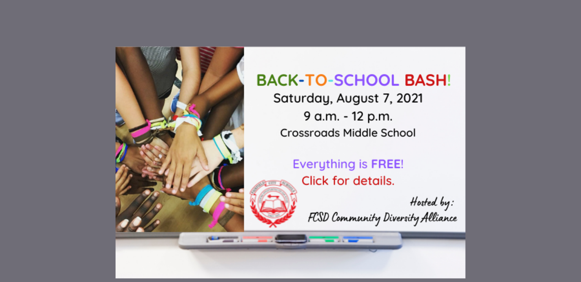 This is an image of a brief announcement about the Back to School Bash. It directs visitors to click on the image to access the flyer on our website.