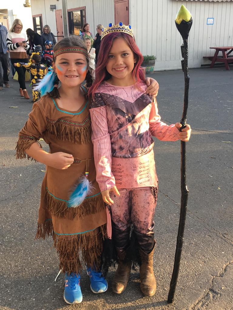 girls dressed as indian and princess