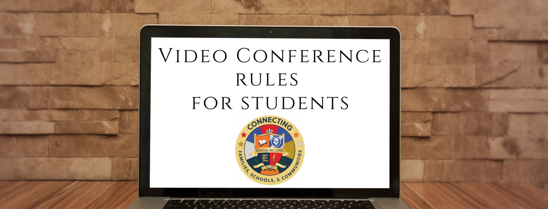 Computer Screen titled Video Conference Rules for Students