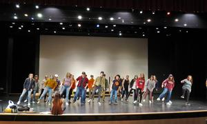 TKHS students learn a dance routine for a scene in the spring musical.