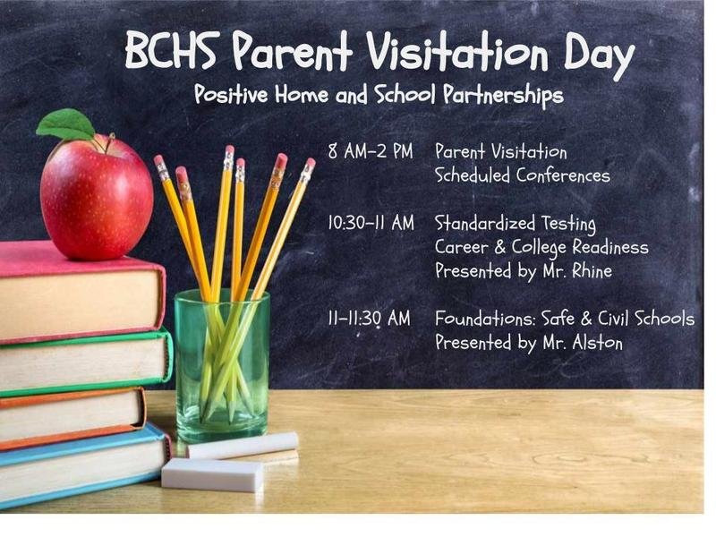 Parent Visitation Day- Oct. 22, 2019 from 8 AM to 2 PM