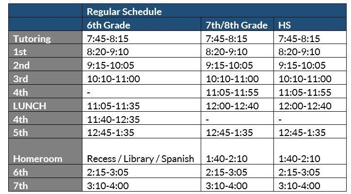 Secondary M-Th Daily Schedule