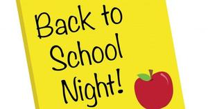 yellow sign with an apple that says back to school night