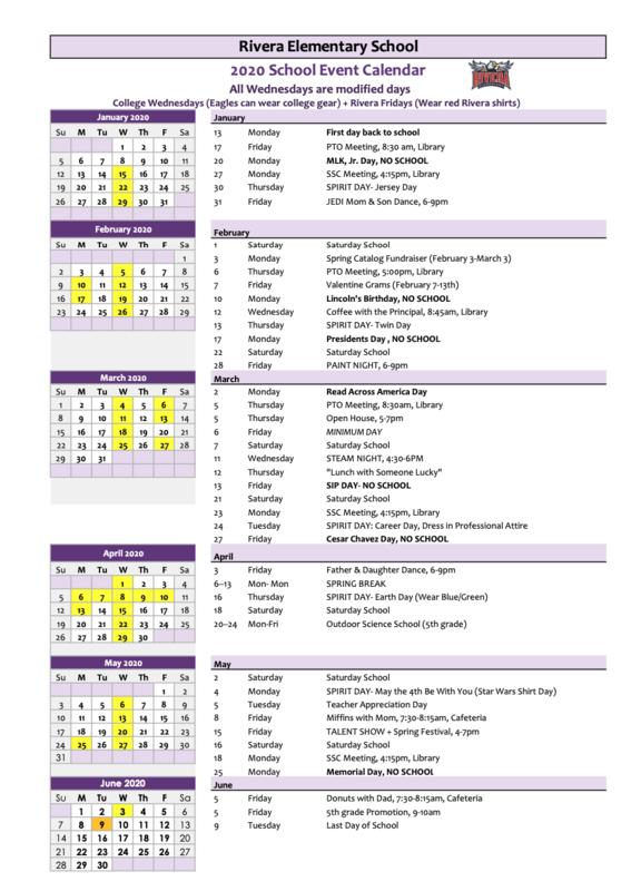 2020 School Calendar