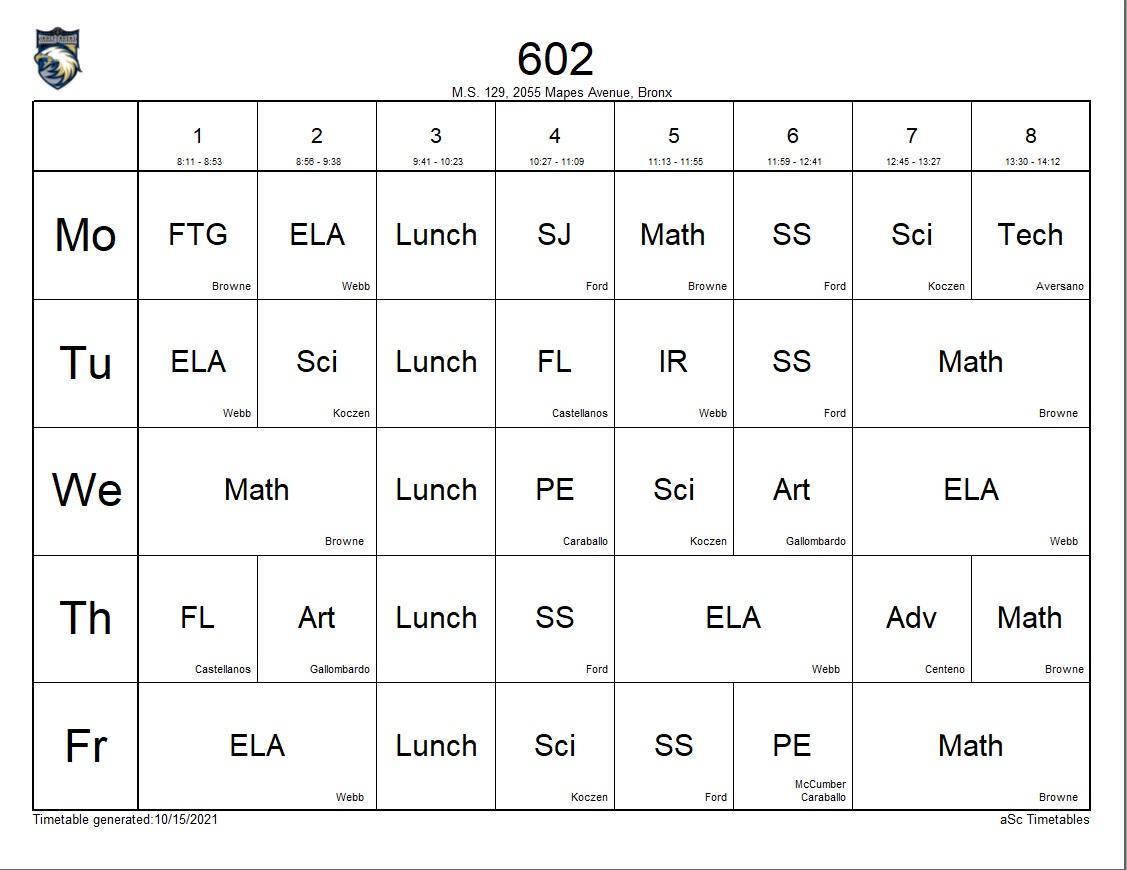 602 class schedule