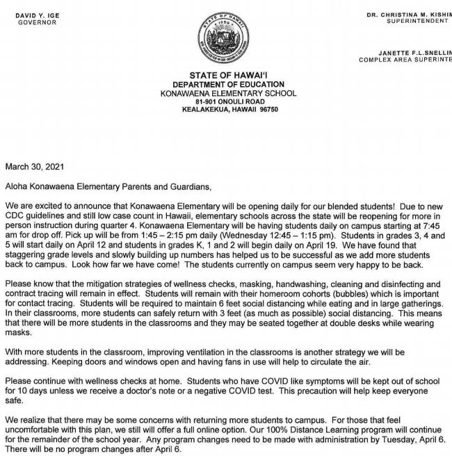 Important update regarding school reopening