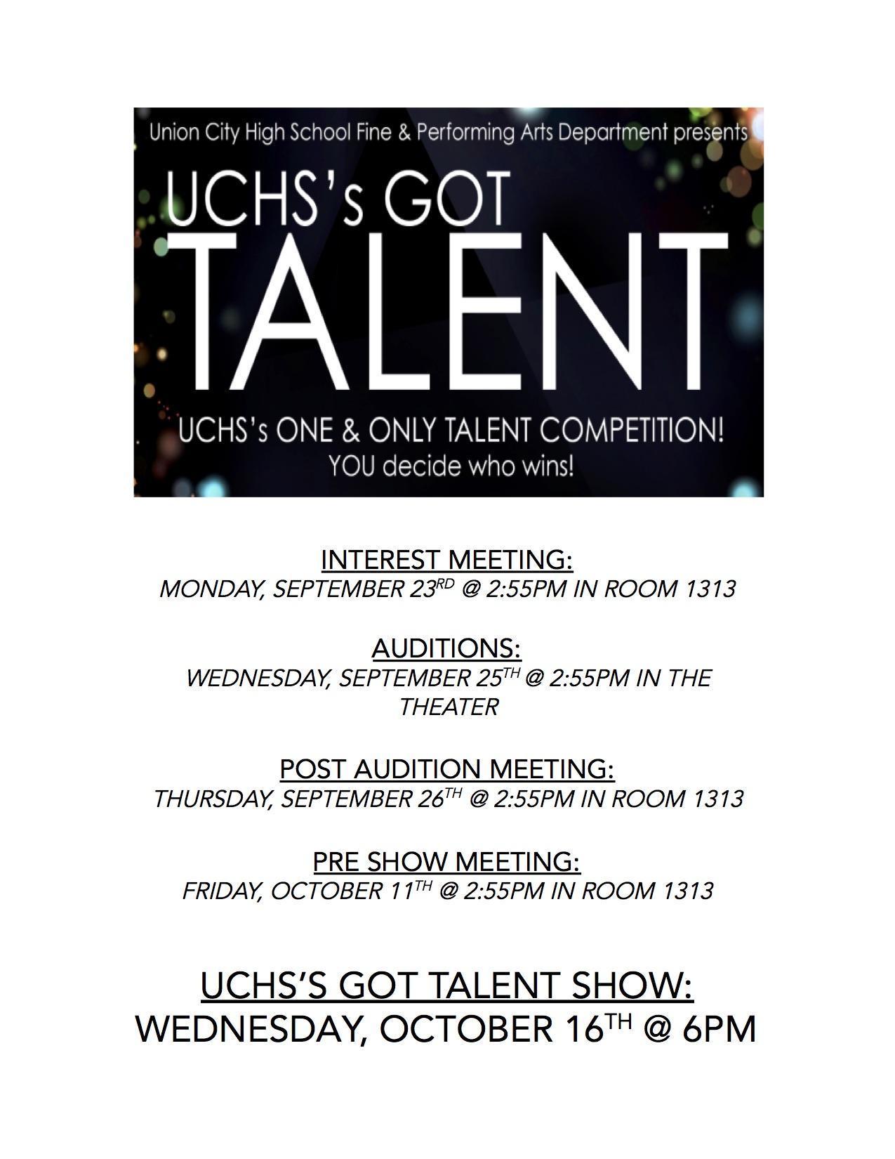 UCHS Got Talent Flyer