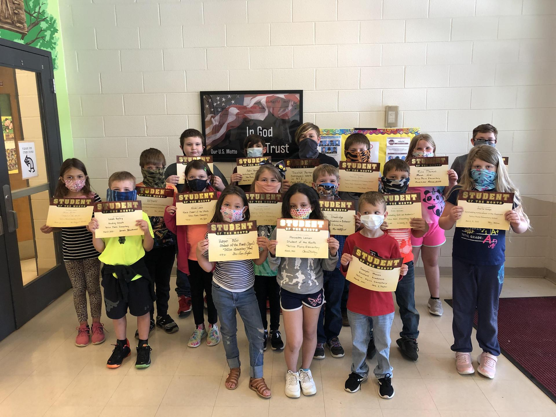 Picture of students who received the March 2021 Student of the Month Award at TPES