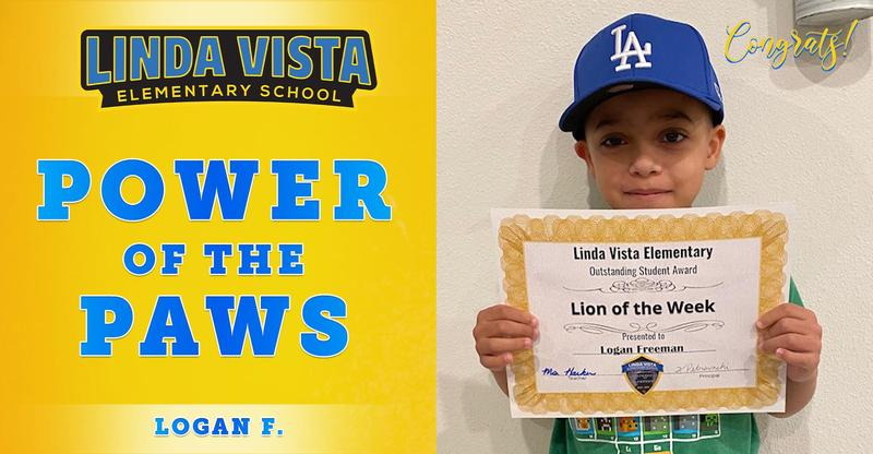 Congratulations to Our Power of the PAWS Student, Logan F.!