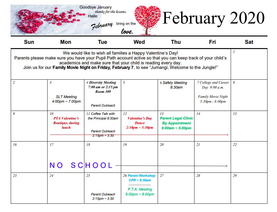 PTA Calendar for February
