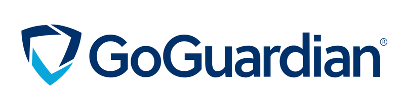 GoGuardian Logo in dark and light blue with the brand title. Logo is  three links formed into an upside down diamond
