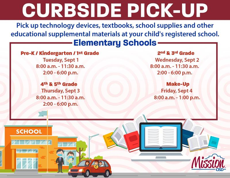 Curbside flyer with pick up times for each grade level