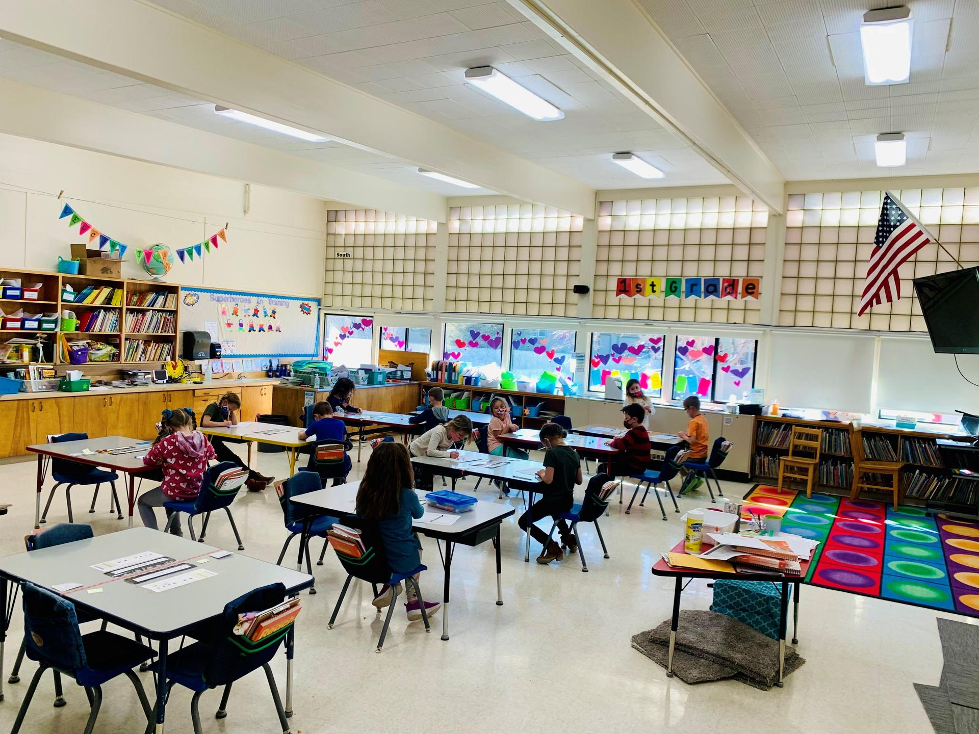 Students sitting at desks in classroom