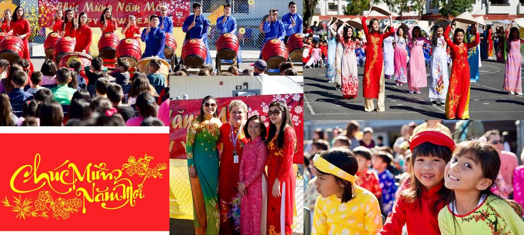 Westminster High School students perform a traditional Vietnamese dance during DeMille School TET Festival Celebration.