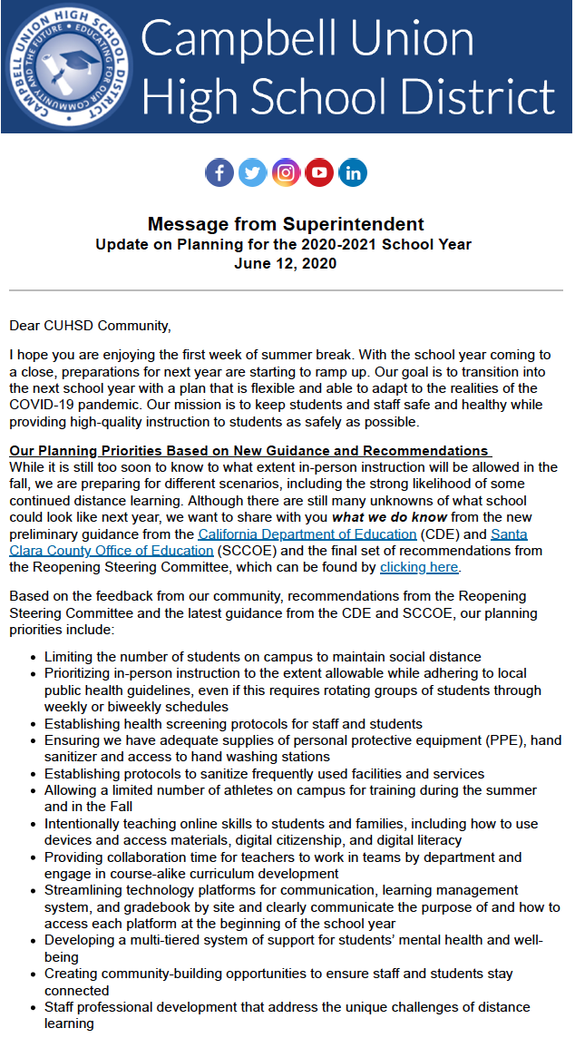 image of district update on school opening in august 2020a
