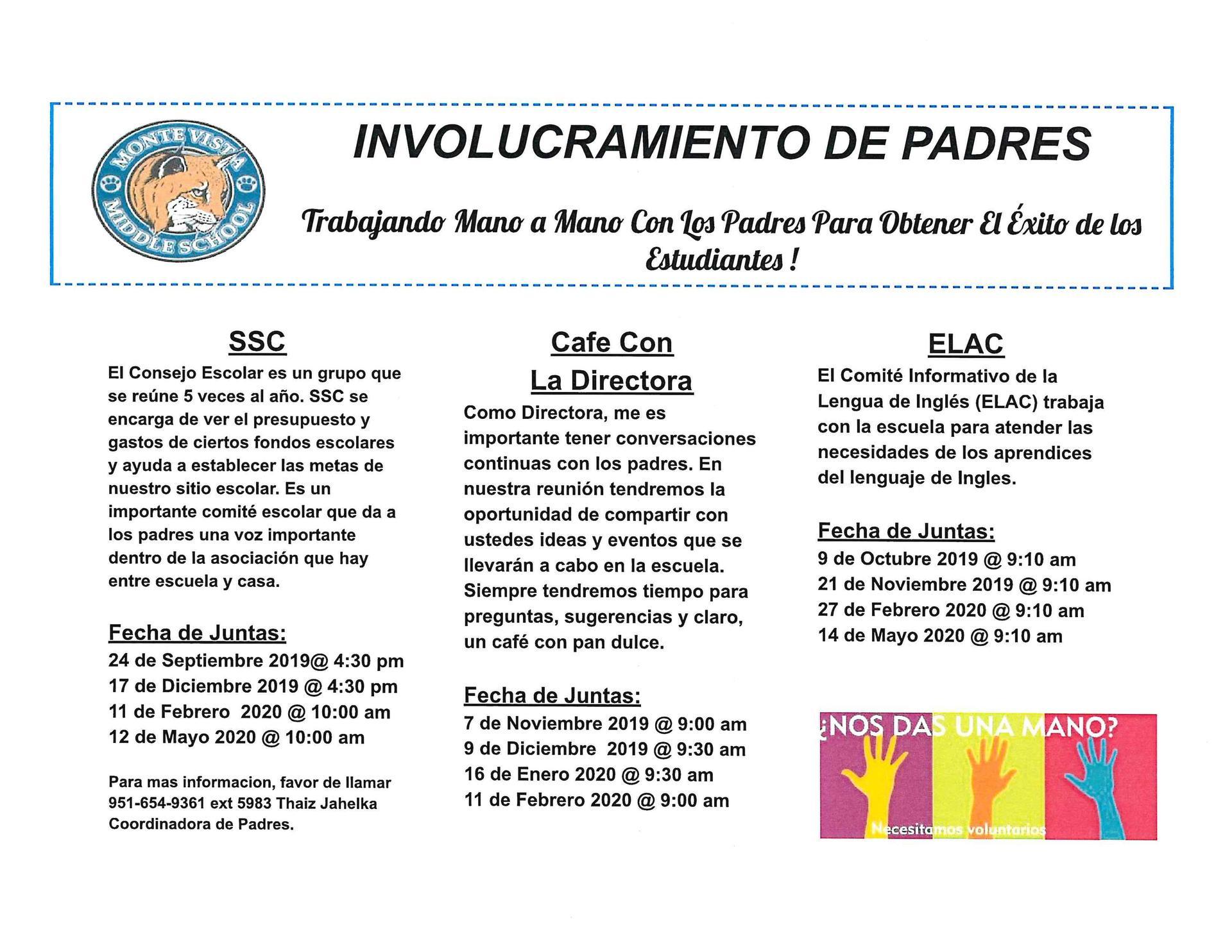 Consejo Escolar, Cafe con la Directora y ELAC fecha de juntas