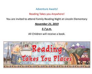 Family Reading Night is November 21, 2019 from 5 until 7 p.m.