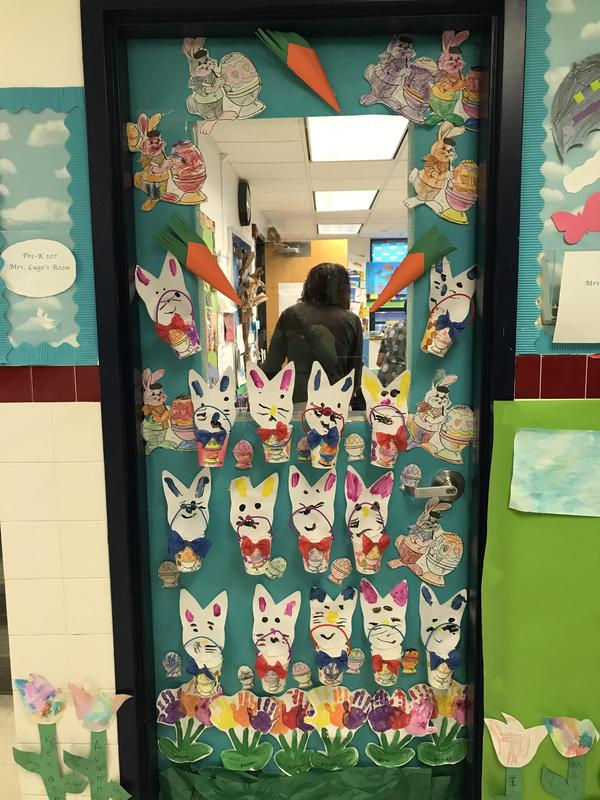 easter bunny with their baskets and egss