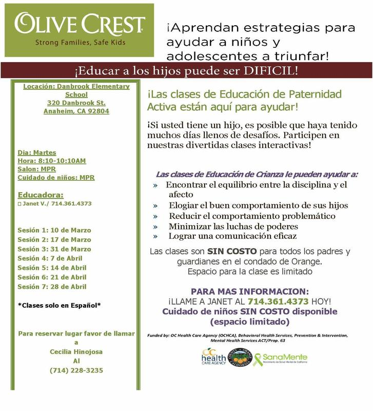 Flyer in spanish for classes offered by Olive Crest at Danbrook
