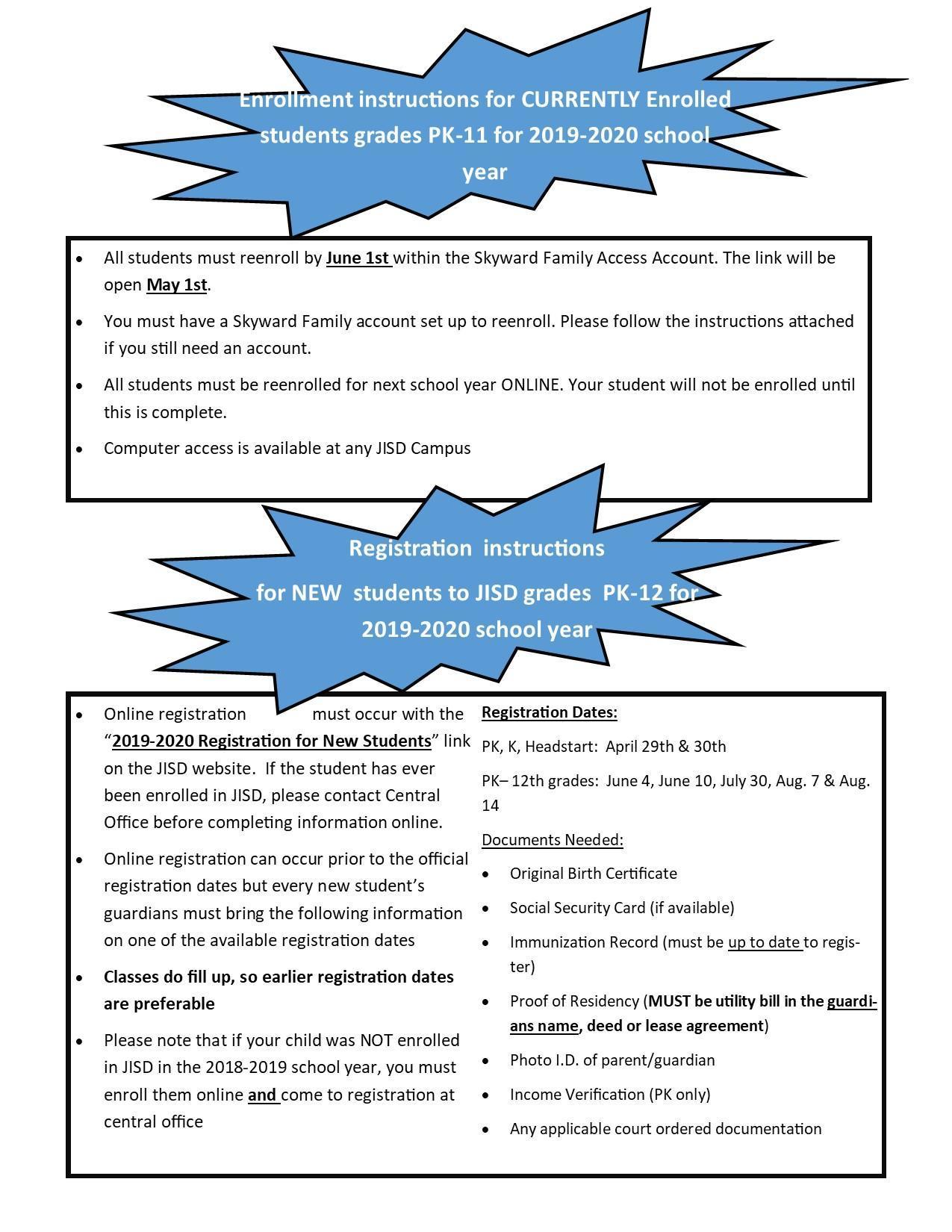 Instructions for enrollment dates
