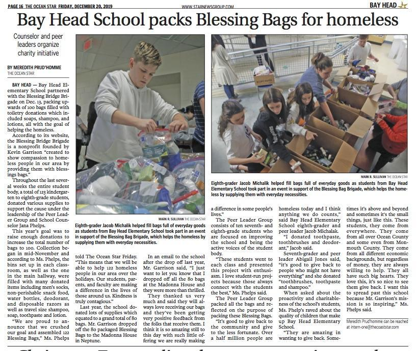 Coast Star article about our Blessing Bag contribution