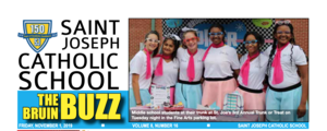 Newspaper Header with St Joseph Catholic School The Bruin Buzz. Photo of group of girls dressed in 1950s apparel.