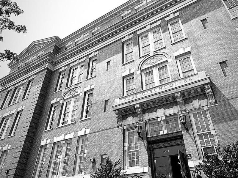 Black and White Picture of School entrance