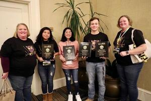 Pictured from left to right are Sadie Hallman (Beta Club Sponsor), Anahi Villaseca-Torres, Maria Reyes-Villaseca, James Jarrett, and Kelly Price (Beta Club Sponsor). These three Batesburg-Leesville High School students won awards at the SC Senior Beta Club Convention and are now eligible to compete in the National Beta Club Convention this summer.