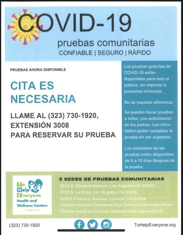 Spanish flyer for free COVID-19 testing