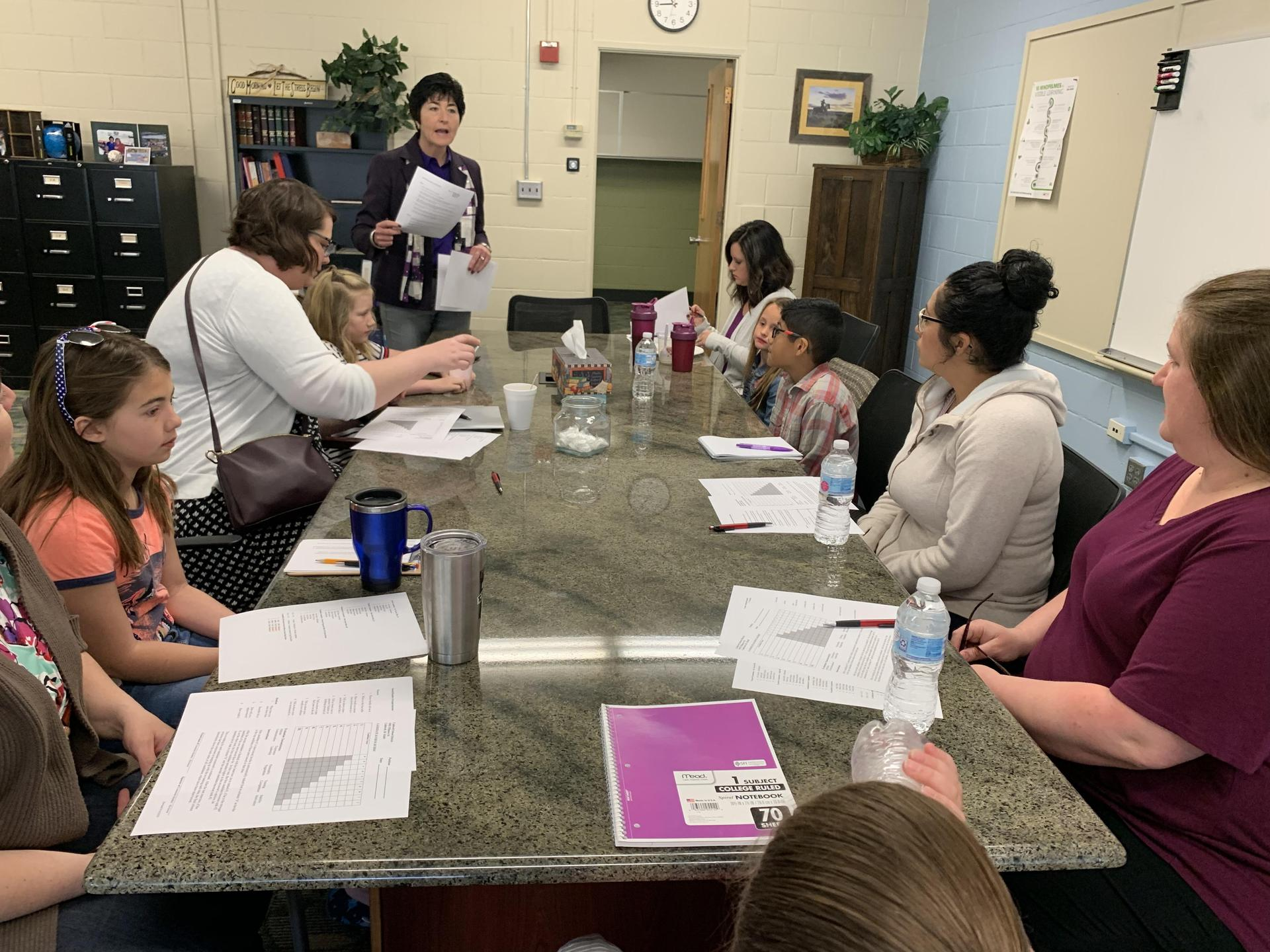parents students meeting with superintendent