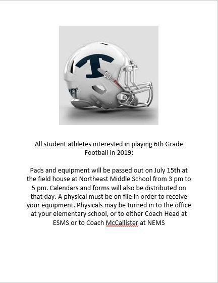 Attention Fifth Grade Students Interested in Playing Middle School Football!! Featured Photo