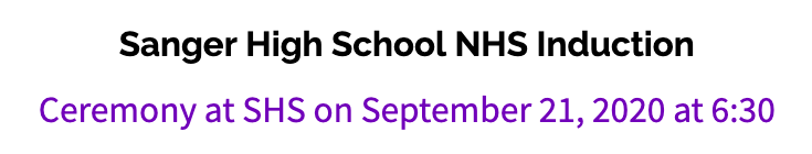 NHS Inductions on September 21st at 6:30