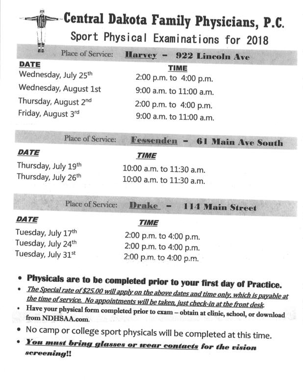 2018 sports physical schedule